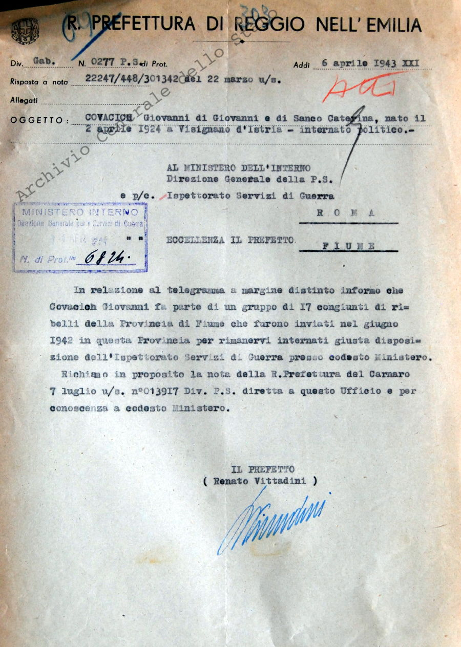 Covacich Giovanni. Internato politico