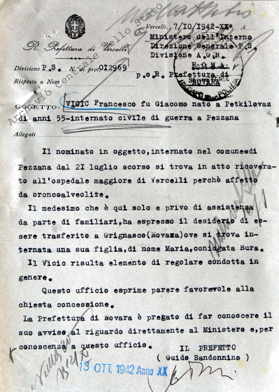 Vicic Francesco, di anni 55 internato civile di guerra a Pezzana