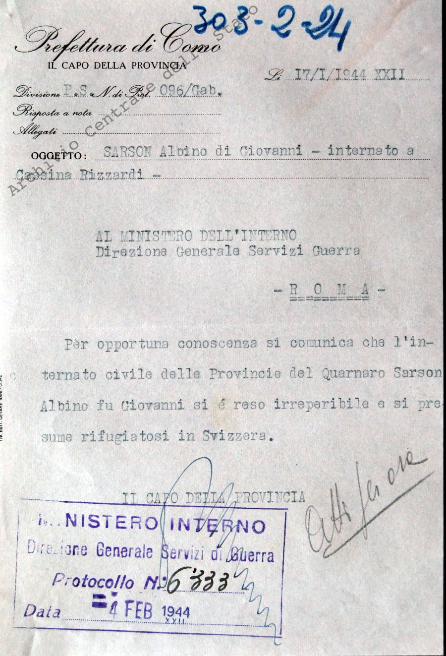 Sarson Albino di Giovanni. Internato a Cassina Rizzardi